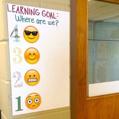 Emoji self evaluation poster for learning goals!  I just love when emojis are used in classroom decor!