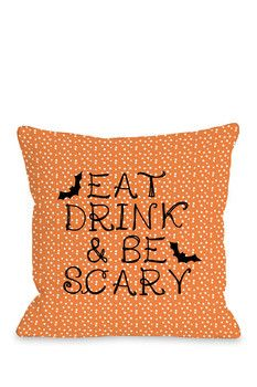 One Bella Casa Eat Drink & Be Scary Pillow - Orange  Sponsored by Nordstrom Rack.