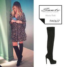 Maria Iliaki (@marakiiliaki) in SANTE Over the Knee Boots styling by Ioanna Salamoura (@ioannasalamoura) #SanteFW1617 #CelebritiesinSante Available in stores & online (SKU-94561): www.santeshoes.com
