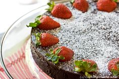Post image for Flourless Chocolate Cake with Strawberries Chocolate Strawberry Cake, Strawberry Cakes, Strawberry Recipes, Gluten Free Sweets, Gluten Free Baking, Dairy Free Recipes, Best Dessert Recipes, Fun Desserts, Delicious Desserts