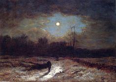 George Inness >> óleo sobre lienzo >> Nochebuena (también conocido como Moonlight Invierno)