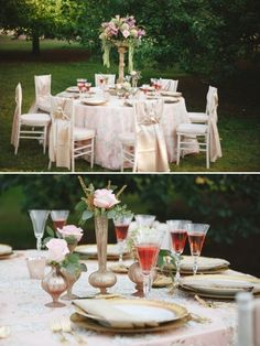 pink and gold table decoration ideas