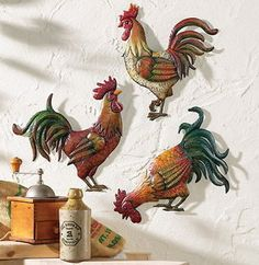 Country Kitchen Rooster Theme Decor Set Of 3 Metal Rooster Wall Art Decor