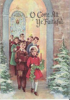 Old Christmas Post Cards — Christmas Carols Vintage Christmas Images, Christmas Scenes, Christmas Past, Victorian Christmas, Christmas Music, Retro Christmas, Vintage Holiday, Christmas Pictures, Christmas Greetings