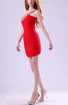 Chiffon Strapless Elegant Party Dresses - Order Link: http://www.theweddingdresses.com/chiffon-strapless-elegant-party-dresses-twdn7570.html - Embellishments: Paillette , Ruching , Beaded , Sequin; Length: Short; Fabric: Chiffon; Waist: Natural - Price: 104.99USD