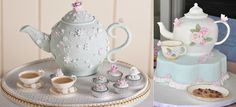 """As featured in """"Teapot Cakes"""" on Cake Geek Magazine. (Cake, left by Fiona Cairns and right, by Slice). For more, see: http://cakegeek.co.uk/index.php/teapot-cakes/"""