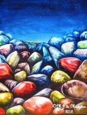 Elegant Rock Painting by M-J de Mesterton, Copyright 2012