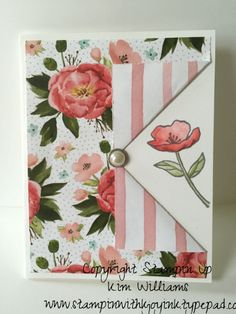 2016 OC Birthday Bouquet & Birthday Blooms Stamp set.Peekaboo card fold. stampinwithkjoyink.typepad.com