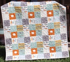 Boy Quilt, Feather River, Organic Rustic Camping, Nursery Bedding
