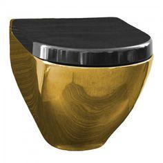 Toaleta myjąca z bidetem złota z czarną deską w komplecie Harmony MA 5201 Thor, Canning, Tableware, Design, Dinnerware, Dishes, Design Comics, Serveware