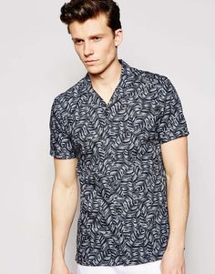 432b17a4d39cb Reiss Short Sleeve Cuban Collar Shirt with All Over Feather Print In  Regular Fit at asos.com