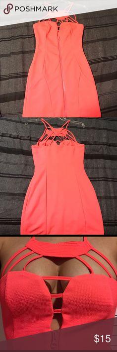 Sexy coral mini dress! Coral mini dress by Mustard Seed. Brand new never worn! Mustard Seed Dresses Mini