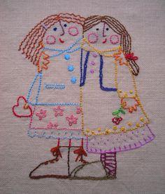 Com muito prazer quero mostrar pra vocês o primeiro  trabalho de bordado de minha querida amiga Isabela . Melhores Amigas - esse é o títul...