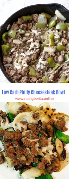 Low Carb Philly Cheesesteak Bowl #Low Carb#Cheesesteak#Bowl