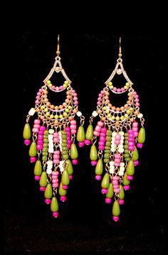 Pink and Green Gypsy Earrings – La De Da Too www.ladedatoo.com
