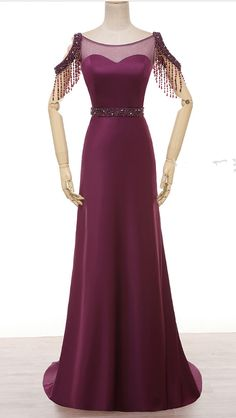 Married a party dress purple dress pearl crystal neck satin evening gown