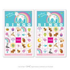 Woodland Unicorn BINGO Game Kid's Printable by crazyfoxpaper Bingo Games For Kids, Printable Bingo Games, Bingo Card Template, Birthday Party Games For Kids, Cool Birthday Cards, Birthday Card Sayings, Party Themes For Boys, Birthday Candy, Bingo Cards