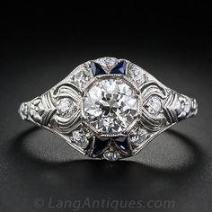 1.00 Carat Diamond and Sapphire Deco Solitaire - Vintage Engagement Rings