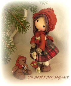 Little girl for Christmas, doll in cold porcelain by Un posto per sognare