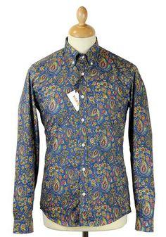 Paisley Print TukTuk Retro 60s Mod L/S Shirt. A vibrant psychedelic paisley print to capture of the essence of the swinging sixties. http://www.atomretro.com/product_info.cfm?product_id=13139 #tuktuk #paisleyshirt