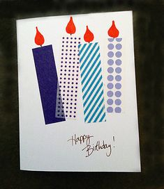 handmade birthday card ... one layer ... candles with washi tape bodies and a…