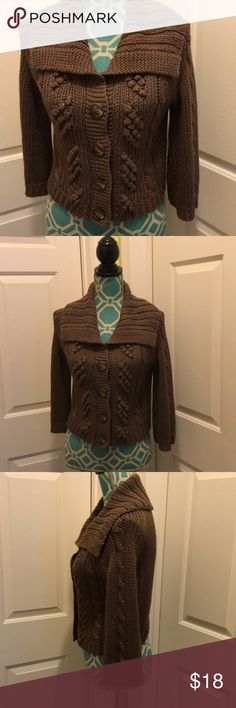Express, cable knit ,button down sweater. Express brand, cable knit, 3/4 length, button down sweater. Colors- brown, gold . Size- medium. NWOT. Beautiful!! Express Sweaters