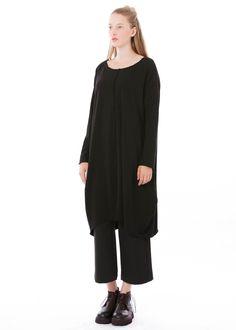Kleid Alma von Elemente Clemente bei nobananas mode #nobananas #elementeclemente #dress #organic #cotton #round #long #pocket #wide #fit #black #fw16