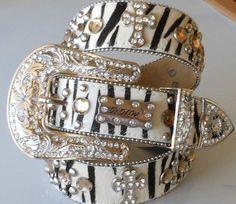 Genuine Leather Western BHW Crystal Rhinestone Zebra Cross Large Cowgirl Belt XL   eBay