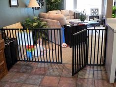 DIY any-size baby (or dog!) gate. These things are so so expensive to buy! Nice alternative to save money!.