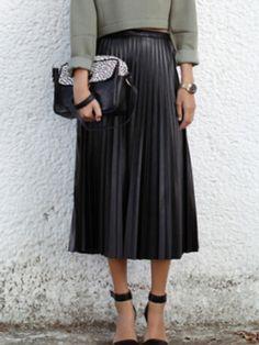 Shop Black High Waist Pleated PU Skirt online. SheIn offers Black High Waist…