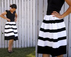 cute skirt tutorial out of t-shirt knit. Really like the wide stripe at the bottom.