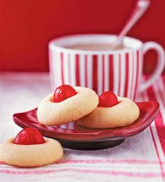 Butter Dream Cookies - With red maraschino cherry cherri, christmas cookie recipes, christma cooki, midwest living, dreams, holiday cookies, holidays, dream cooki, butter dream