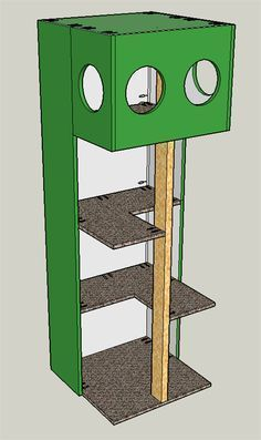 Build your own Cat Tree House! Get the FREE plans at buildsomething.com #catsdiytree #cattree #cathouseplans