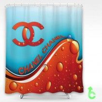 Chanel Abstract Red Wave Shower Curtain