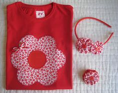 Flor Sewing For Kids, Baby Sewing, Sewing Crafts, Sewing Projects, Easter Outfit For Girls, Flower Quilts, Applique Templates, Sewing Appliques, Diy Shirt