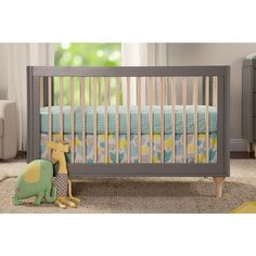 """Babyletto Lolly 3-in-1 Convertible Crib with Toddler Rail - Grey/Natural/White - Babyletto - Babies """"R"""" Us"""