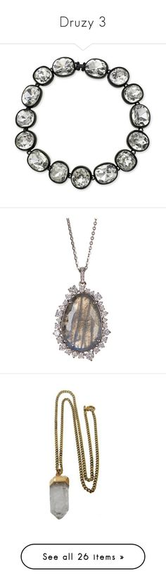 """Druzy 3"" by shulamithbond on Polyvore featuring jewelry, necklaces, black, long necklaces, kenneth jay lane, kenneth jay lane necklace, long crystal necklace, crystal jewellery, clear and clear crystal pendant"