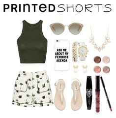 """""""Kaki printed short"""" by leafashionpro ❤ liked on Polyvore featuring Topshop, Miu Miu, Charlotte Russe, Lipsy, Terre Mère and printedshorts"""