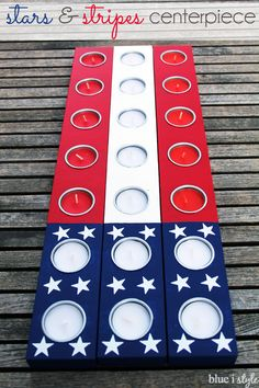 Create an easy, American flag tea light holder! This patriotic, stars and stripes centerpiece is the perfect decor for 4th of July barbecues. Swap out regular tea lights for citronella to make those 4th of July barbecues more enjoyable.