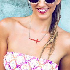 Sideways Cross Necklace w/Color (necklace)
