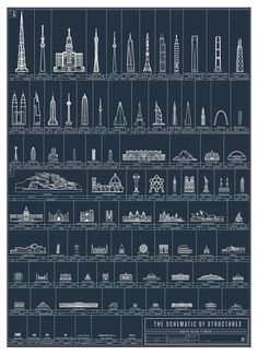 """The Schematics of Structures  """"Marvel at the majesty of mankind's many architectural achievements with this selection of celebrated super-structures from around the world. From the Greek Parthenon to Buckingham Palace to Taipei 101 to the Freedom Tower, this lineup of landmark landmarks limns 90 eminent edifices erected and perfected throughout history. """""""