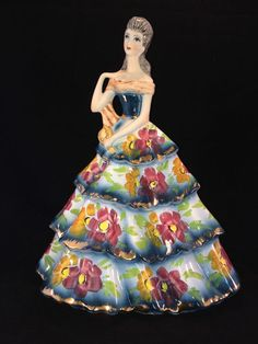Antique Porcelain. Colorful italian lady H 36 cm . Marked  #capodimonte #italy