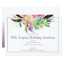 Watercolor Boho Pink and Purple Floral Birthday Napkins | Zazzle.com Surprise Birthday Invitations, Purple Wedding Invitations, Bridal Shower Invitations, Watercolor Invitations, Floral Invitation, Green Watercolor, Watercolor Flowers, Bridal Shower Luncheon, Pink Turquoise
