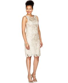 Adrianna Papell Dress, Sleeveless Lace Sheath - Womens Mother of the Bride Dresses - Macy's