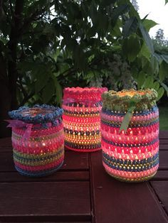 Free pattern by Kate Eastwood - beautiful summer nightlight jar covers Thanks so xox ☆ ★ https://uk.pinterest.com/peacefuldoves/