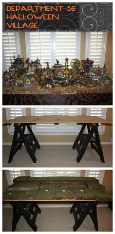 Department 56 Village Set-up Ideas - Use saw horses to hold up pressboard. Layer thick styrofoam on top and drill holes through styrofoam and pressboard to allow cords to be hidden.