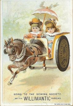 Vintage Sewing Card Advertisement ~ Children, Pony and Buggie