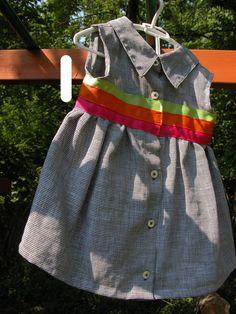 Upcycled Shirt Dress - Houndstooth, size 18m. $21.00, via Etsy.