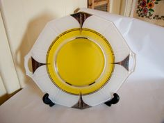 Art Deco Silver Trimmed Yellow & White by VieuxOaklandVintage, $24.00