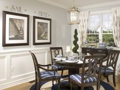 Black and white sailboat prints for back wall in dining room.    http://www.wisedecor.com/images/photo_album/sailaway-nautical-800.jpg